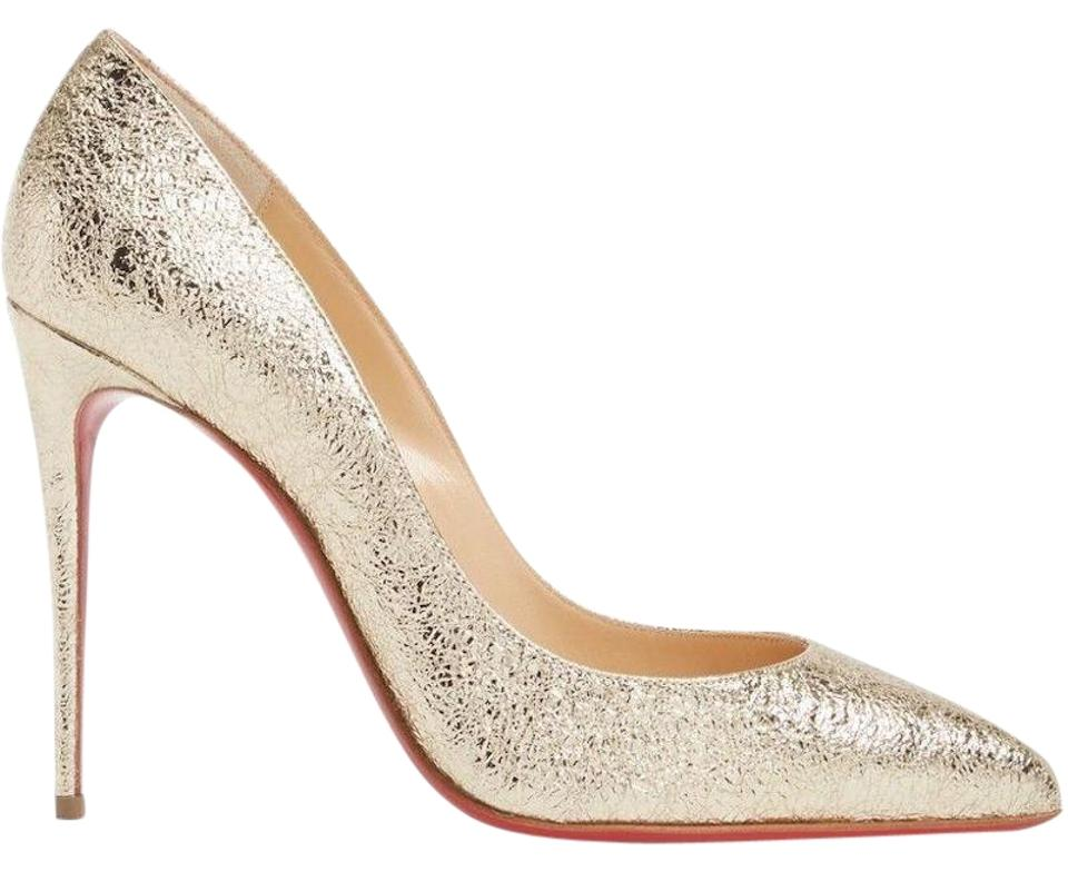 Christian Louboutin Gold Pigalle Follies 100 Stiletto Platine Metallic Crinkled Classic Stiletto 100 Heel Pumps 4007d5