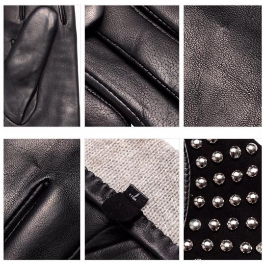 Boutique Collection Leather Stud Cashmere Lined Gloves Size 7 C16 Image 4