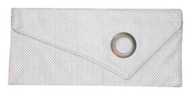 L.a. Brand Perforated Leatherette White Faux Leather Clutch L.a. Brand Perforated Leatherette White Faux Leather Clutch Image 1