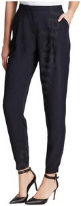 T Tahari Slant Hip Pockets Slouchy Style Crepe Material Rich Color Gathered/Banded Hem Trouser Pants Black