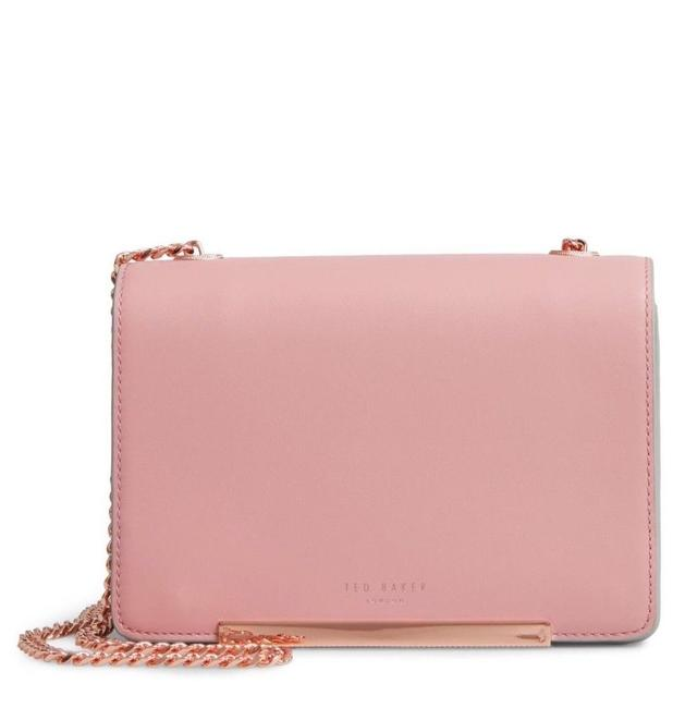 Ted Baker Earie Rainbow Gusset Pink Leather Cross Body Bag Ted Baker Earie Rainbow Gusset Pink Leather Cross Body Bag Image 1