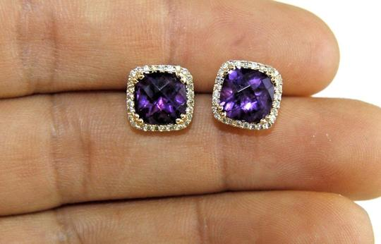 LAJ Cushion Purple Amethyst & Diamond Halo Stud Earrings 14K YG 3.90Ct