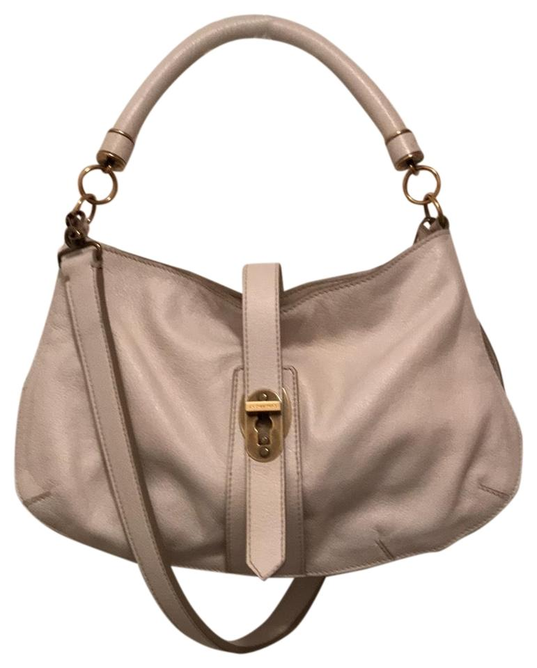 4062f425a166 Burberry Creighton Med Full Grain Textured Buffalo White Gold Leather Hobo  Bag