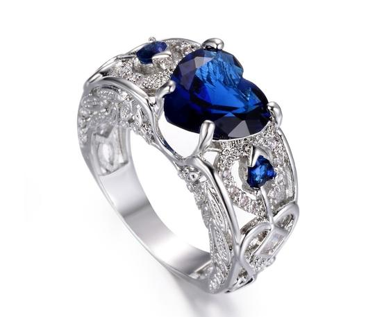 Other 2.00 CTW Heart Shape Blue Rhodium Plated Simulated Sapphire Ring
