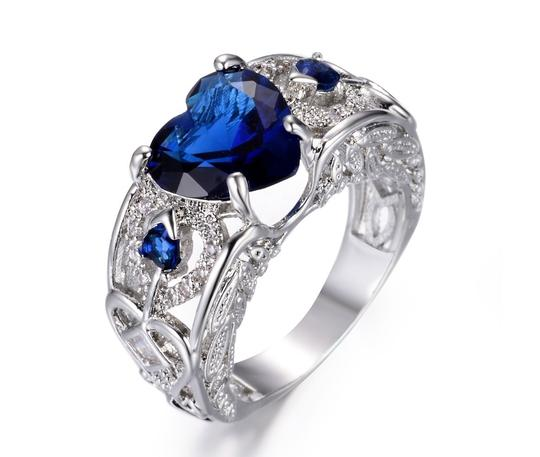 Other 2.00 CTW Blue Heart Shape Rhodium Plated Simulated Sapphire Halo