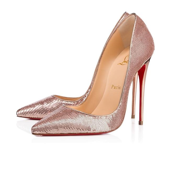 Christian Louboutin Nude So Kate 120 Pink Rose Gold Sirene Sequin Stiletto Classic Heel Pumps Size EU 37 (Approx. US 7) Regular (M, B) Image 1