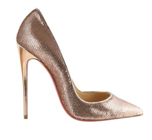 Christian Louboutin Sequin Leather Stiletto Nude Pumps - item med img