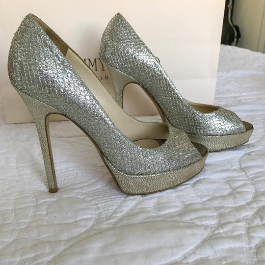 Jimmy Choo Champagne Glitter Metallic Pumps