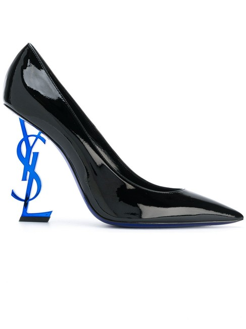 Saint Laurent Black Yves Ysl Opyum Opium 110 Logo Patent Leather Blue Stiletto Heel Pumps Size EU 37.5 (Approx. US 7.5) Regular (M, B) Saint Laurent Black Yves Ysl Opyum Opium 110 Logo Patent Leather Blue Stiletto Heel Pumps Size EU 37.5 (Approx. US 7.5) Regular (M, B) Image 1