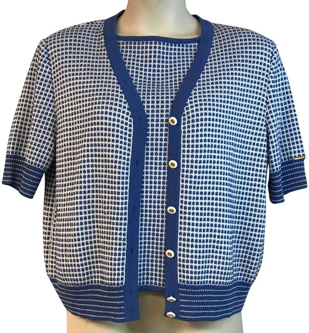 Preload https://img-static.tradesy.com/item/24015776/st-john-blue-sport-whiteblue-knit-twinset-ml-blouse-size-8-m-0-1-650-650.jpg