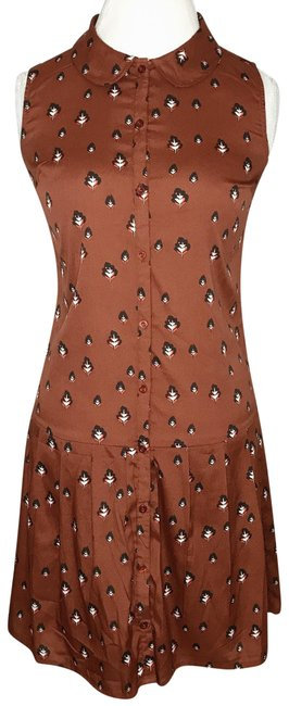 Preload https://img-static.tradesy.com/item/24015780/bar-iii-brown-floral-printed-button-mid-length-workoffice-dress-size-6-s-0-1-650-650.jpg