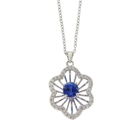 Preload https://img-static.tradesy.com/item/24015791/rose-cut-sliced-27-ct-blue-sapphire-043-ct-diamonds-14k-white-gold-necklace-0-0-540-540.jpg