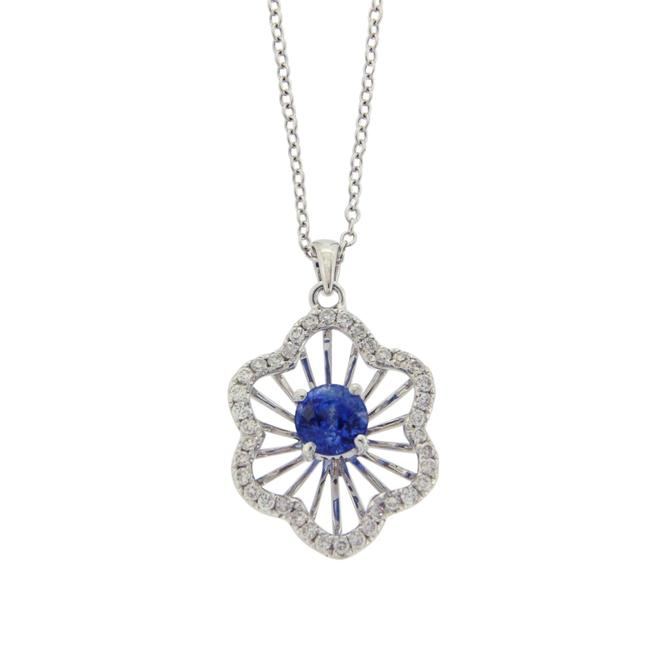 Unbranded Rose Cut Sliced 27 Ct Blue Sapphire 0.43 Ct Diamonds 14k White Gold Necklace Unbranded Rose Cut Sliced 27 Ct Blue Sapphire 0.43 Ct Diamonds 14k White Gold Necklace Image 1