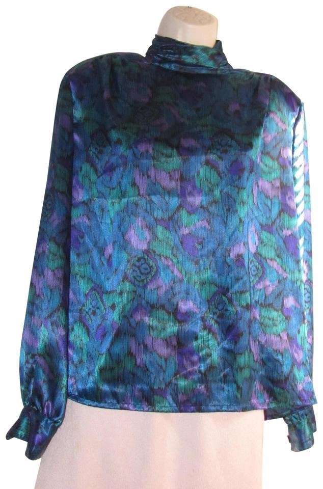 834494c59cb6c Notations Teal Green Purple and Black Peacock Print Silky Polyester ...
