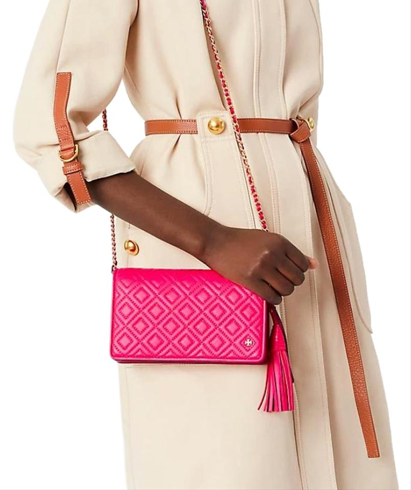 a76c4fd9c7d Tory Burch Fleming New Quilted Purse Pink Leather Cross Body Bag ...