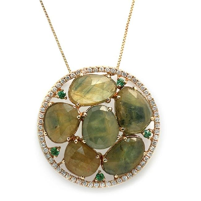 Unbranded Rose Cut Sliced 11.98 Ct Green Sapphire 0.40 Ct Diamond 14kyellow Gold Necklace Unbranded Rose Cut Sliced 11.98 Ct Green Sapphire 0.40 Ct Diamond 14kyellow Gold Necklace Image 1
