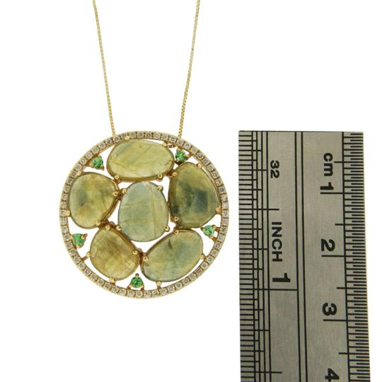 unbranded Rose Cut Sliced 11.98 CT Green Sapphire 0.40 CT Diamond 14KYellow Gold