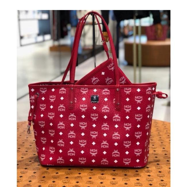 MCM Medium Shopper Red Leather Tote Image 1
