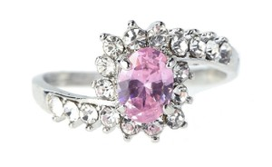 Other 2.50 CTW Pink Sapphire Halo Simulated Crystal Rhodium Plated Ring