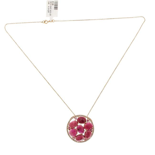 Unbranded Rose Cut Sliced 12.38 Ct Red Sapphire 0.40 Ct Diamond 14k Rose Gold Necklace Unbranded Rose Cut Sliced 12.38 Ct Red Sapphire 0.40 Ct Diamond 14k Rose Gold Necklace Image 1