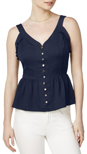 Preload https://img-static.tradesy.com/item/24015911/maison-jules-blue-womens-crepe-ruffled-peplum-navy-m-button-down-top-size-8-m-0-1-650-650.jpg