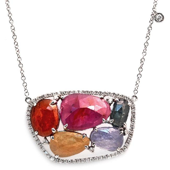 Unbranded Rose Cut Sliced 12.48 Ct Multi Sapphire 0.47 Ct Diamonds 14k Whitegold Necklace Unbranded Rose Cut Sliced 12.48 Ct Multi Sapphire 0.47 Ct Diamonds 14k Whitegold Necklace Image 1