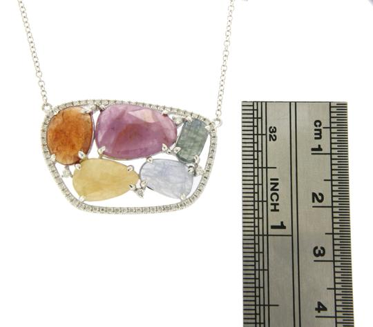 unbranded Rose Cut Sliced 12.48 CT Multi Sapphire 0.47 CT Diamonds 14K WhiteGold