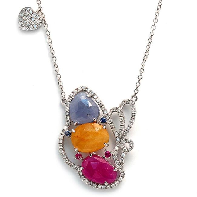 Sliced 6 Ct Multi Sapphire 0.59 Ct Diamonds 14k Gold Butterfly Heart Necklace Image 1