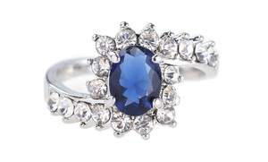 Other 2.50 CTW Blue Sapphire Halo Simulated Crystal Rhodium Plated Ring