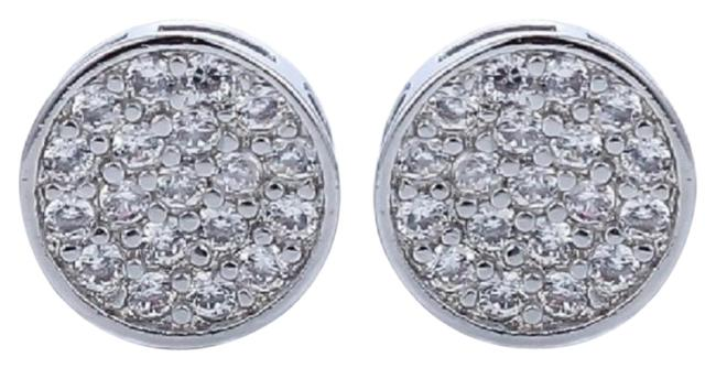 ** 14k Genuine White Gold Micro Paved Diamonds Stud Earrings Image 1