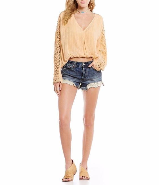 Free People Denim Cut Off Shorts Blue