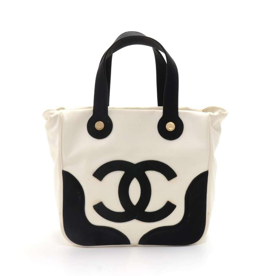 3926d3b2fa57be Chanel Bag Marshmallow Black & -limited Edition White Canvas Tote ...