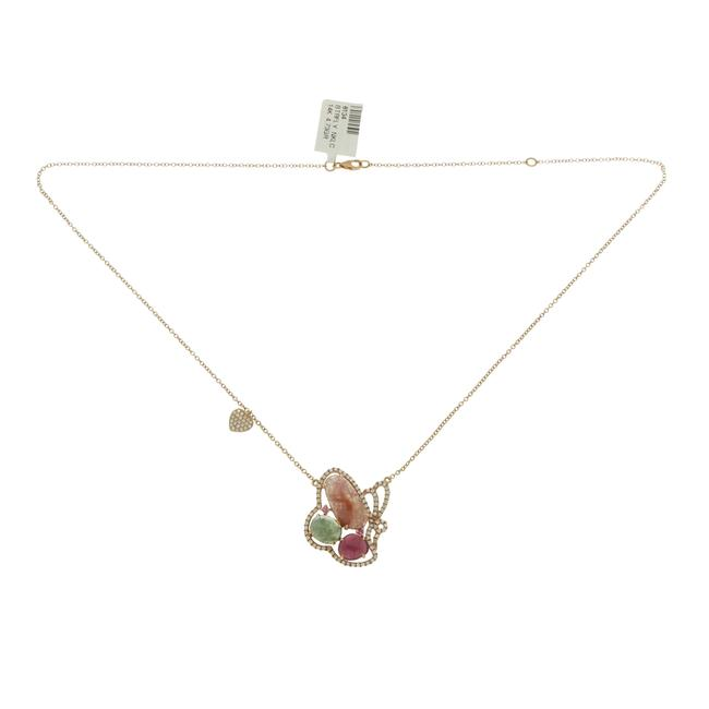 Unbranded Sliced 7.46 Ct Multi Sapphire 0.59 Ct Diamond 14k Gold Butterfly Heart Necklace Unbranded Sliced 7.46 Ct Multi Sapphire 0.59 Ct Diamond 14k Gold Butterfly Heart Necklace Image 1