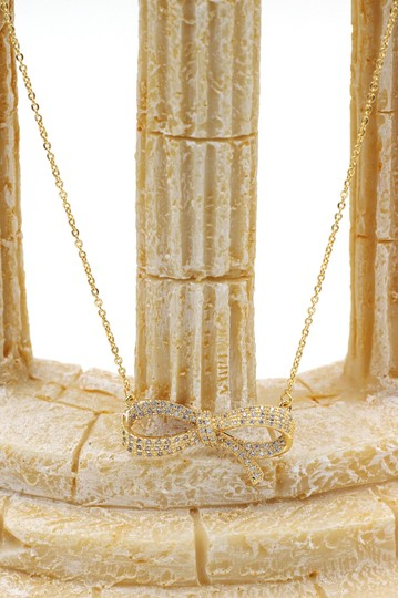 Ocean Fashion Gold, crystal ribbon knot necklace
