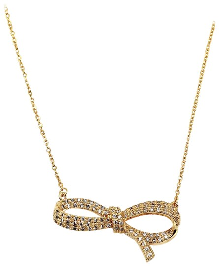 Ocean Fashion 925 Gold crystal ribbon knot necklace