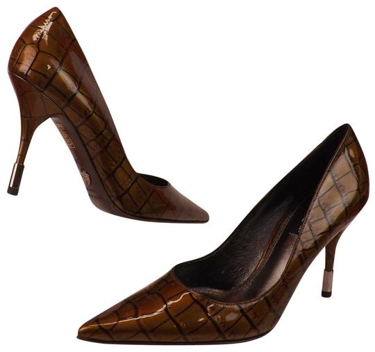 Dolce&Gabbana Metallic Hardware Classic Crocodile Brown Pumps
