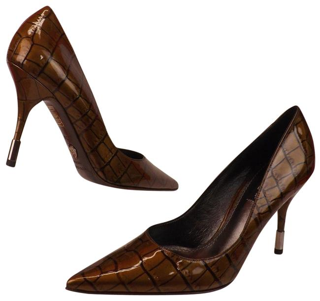 Dolce&Gabbana Brown Bronze Croco Printed Patent Leather Pointed Pumps Size EU 40 (Approx. US 10) Regular (M, B) Dolce&Gabbana Brown Bronze Croco Printed Patent Leather Pointed Pumps Size EU 40 (Approx. US 10) Regular (M, B) Image 1