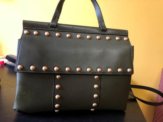 Tory Burch Preppy Studded Leather Satchel in olive green
