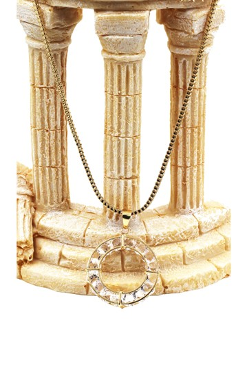 Ocean Fashion Gold inner loop crystal necklace