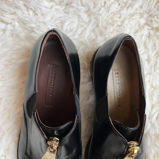 BCBGMAXAZRIA Zipper Oxfords Work Casual Black Flats
