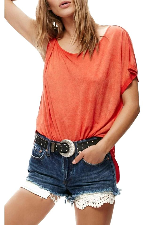 1acf1d6523ae43 Free People Red Pluto One-shoulder T-shirt Tee Shirt Size 6 (S ...