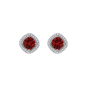 DesignerByVeronica Rhombus Style CZ Ruby Square Earrings Sterling Silver