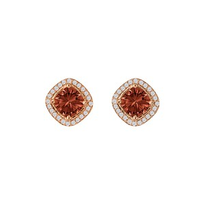 DesignerByVeronica Rhombus Style Square Garnet CZ Halo Stud Earrings