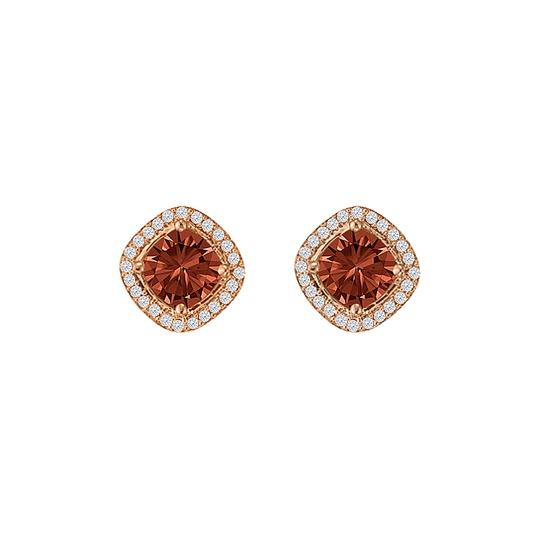 DesignerByVeronica Rhombus Style Square Garnet CZ Halo Stud Earrings Image 0