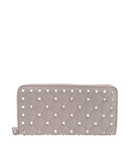 Valentino Valentino Rockstud Beige Quilted Leather Zippered Wallet (156535)