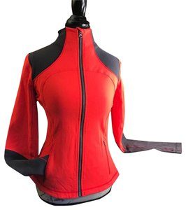 Lululemon Womens Red Gray Leather Jacket