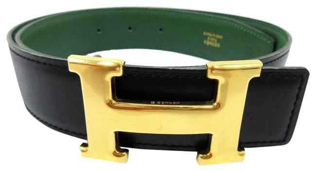 Item - Black Green Constance Reversible Leather Gold H Buckle 65 Belt