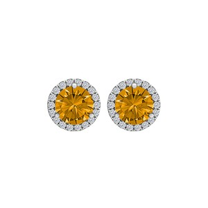 DesignerByVeronica Round Citrine CZ Halo Stud Earrings 925 Sterling Silver