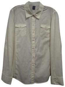 Izod Barrel Cuffs Semi-sheer Magterial Ribbed Knit Sides Pointed Collar Chest Flap Pockets Button Down Shirt Light-Cream