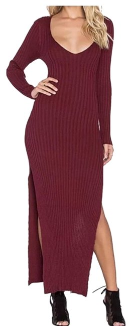 Item - Burgundy Everyday Knit Long Casual Maxi Dress Size 8 (M)